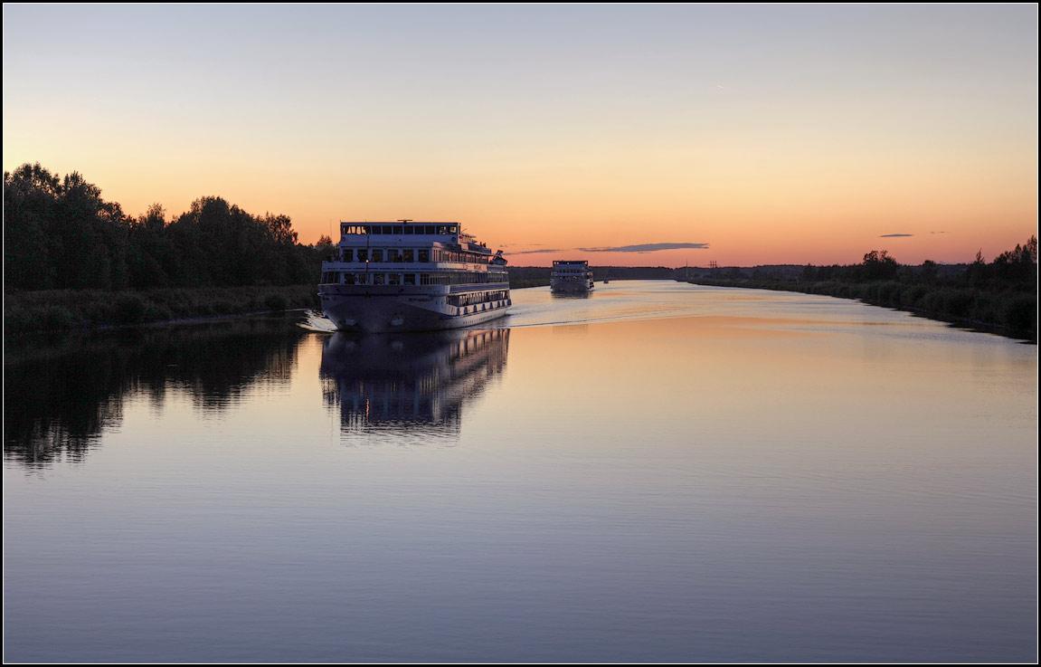 """фото """"вечерний караван"""" метки: пейзаж, вода, закат"""