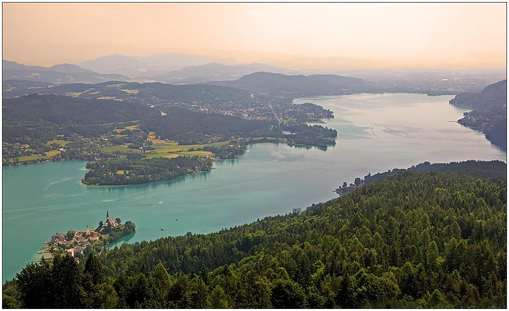 """фото """"Вид на озеро Вёртерзее"""" метки: пейзаж, вода, закат"""