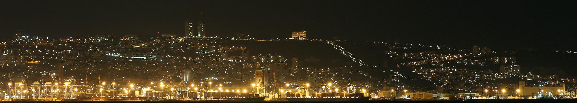 """фото """"Ночная панорама Хайфы."""" метки: ,"""