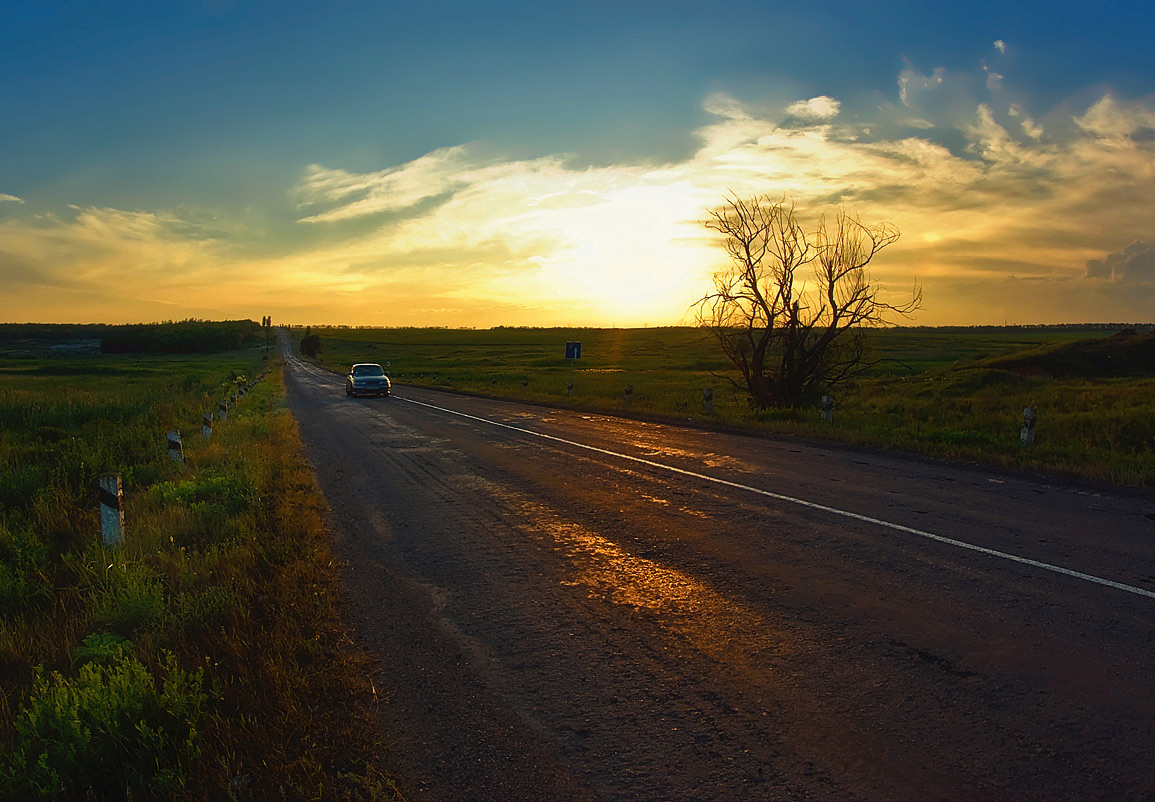 "фото ""Закат...Дорога домой..."" метки: пейзаж, закат, лето"