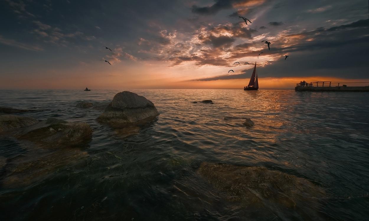 """фото """"Остались лишь закат и море,и целая вселенная вокруг"""" метки: пейзаж, закат"""