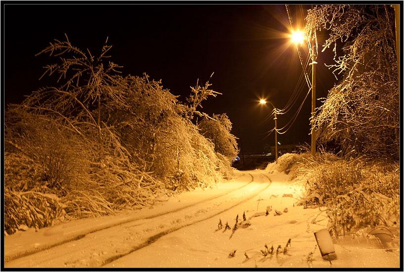 """фото """"запасной путь"""" метки: пейзаж, зима, ночь"""