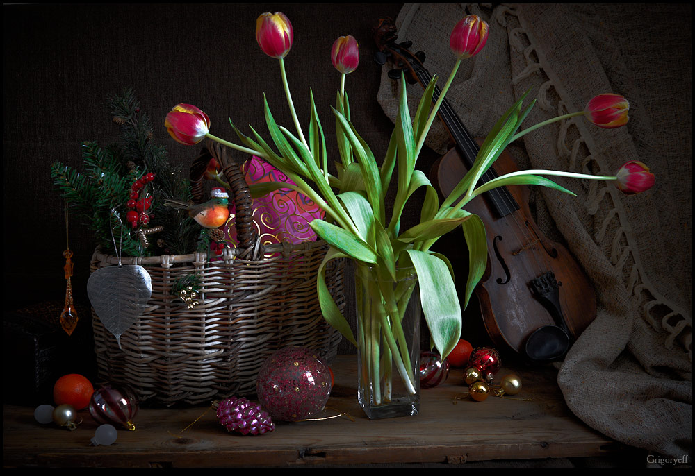 "photo ""Tulips and Christmas decorations"" tags: still life,"