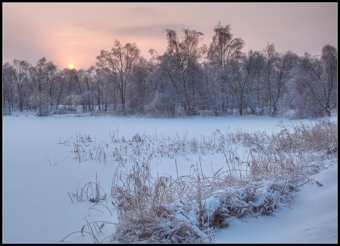 """фото """"розовый рассвет"""" метки: пейзаж, закат, зима"""