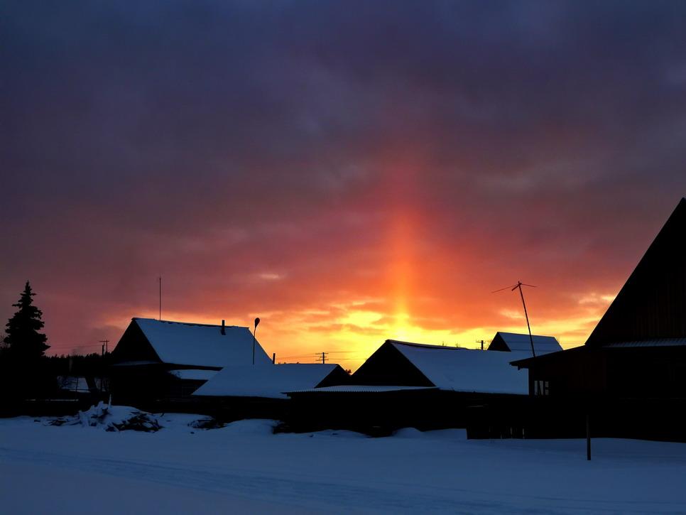 """фото """"Рождественская свеча"""" метки: пейзаж, закат, зима"""