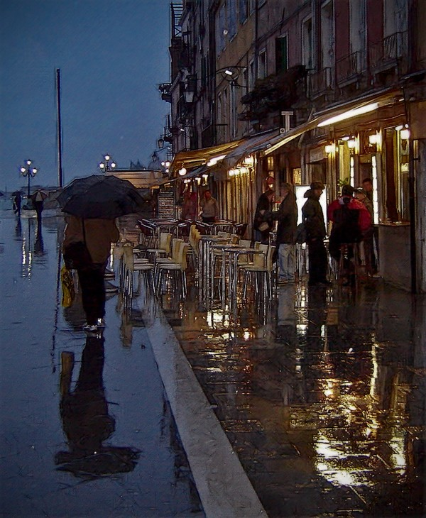 """фото """"Дождь на улице Гарибальди.....Венеция"""" метки: digital art, город,"""