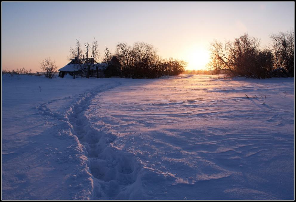 """фото """"Брошенный"""" метки: пейзаж, закат, зима"""