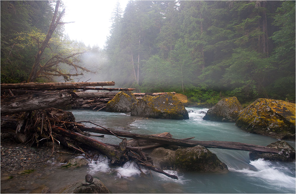 "photo ""Fog over rapids"" tags: landscape, water, winter"