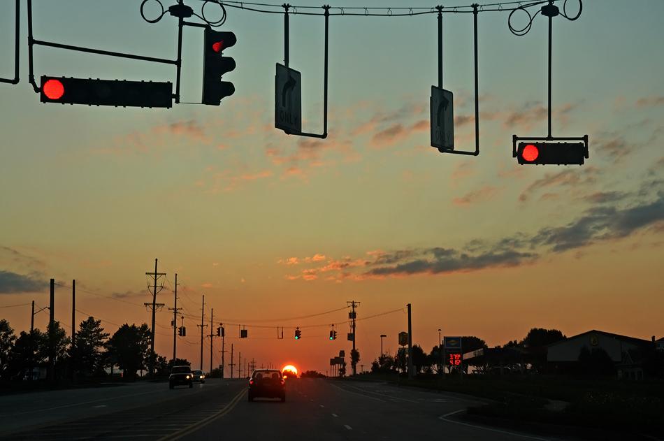 """фото """"Светофор Солнце"""" метки: пейзаж, закат"""