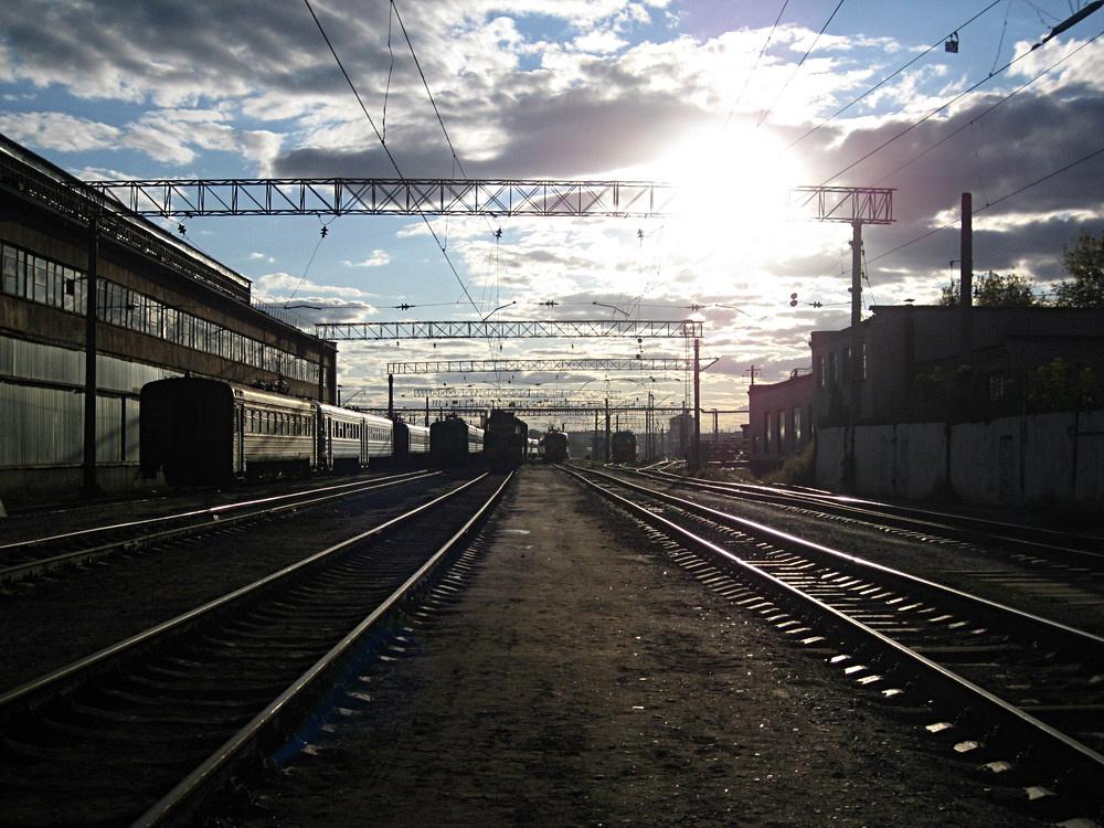"фото ""Вечернее депо"" метки: город,"