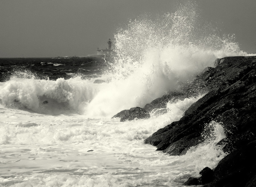 """photo """"""""Waves.. and the Lighthouse...."""""""" tags: landscape, water"""