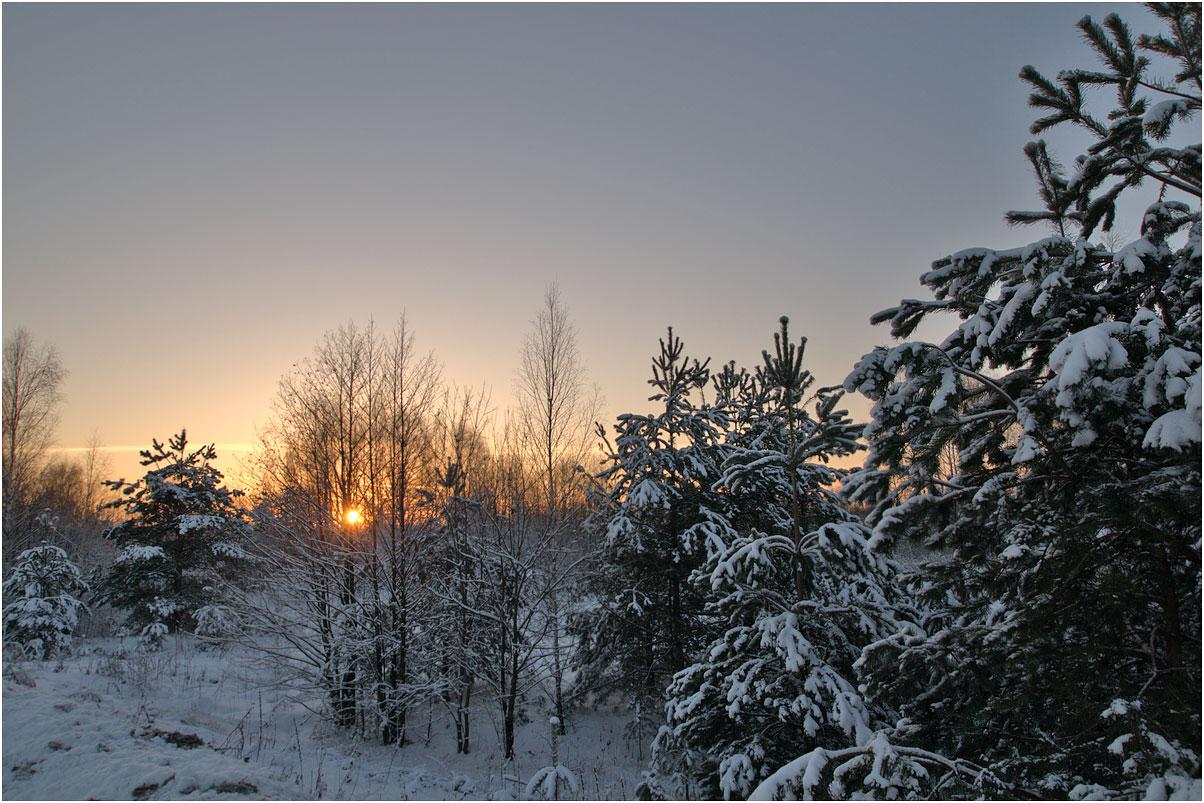 """фото """"Солнце опустилось"""" метки: пейзаж, зима"""