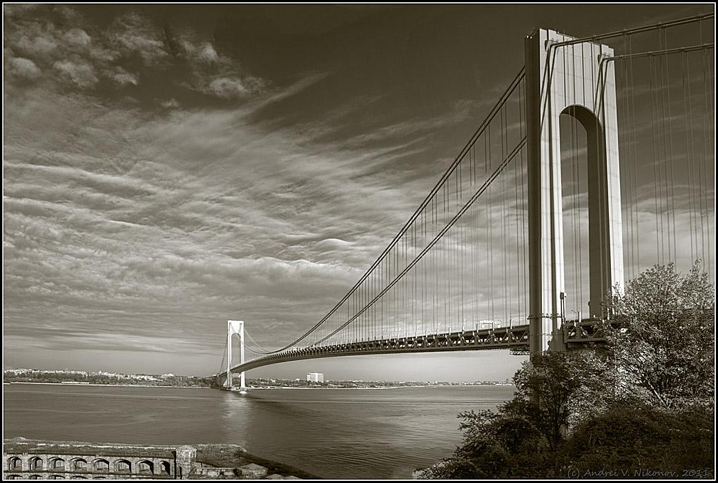 "фото ""Verrazano-Narrows bridge"" метки: архитектура, черно-белые, пейзаж,"