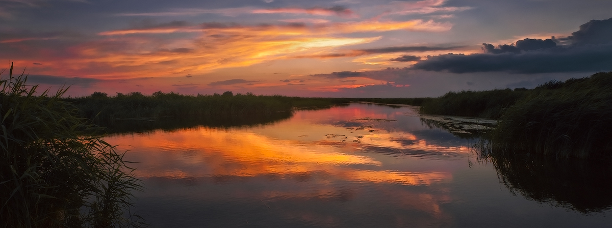 "фото ""Когда горит река закатом"" метки: пейзаж, закат"