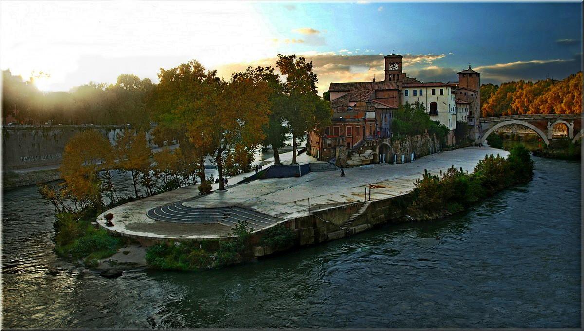 """фото """"Tiberina island"""" метки: пейзаж, архитектура, закат"""
