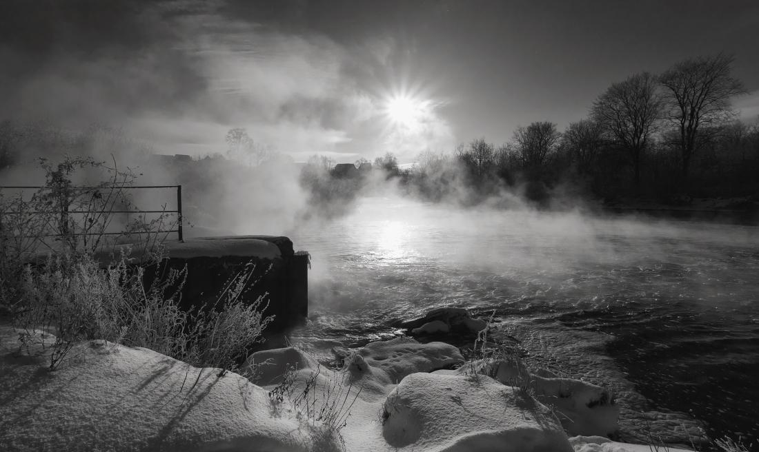 """фото """"Призрачная деревенька"""" метки: пейзаж, черно-белые, зима"""