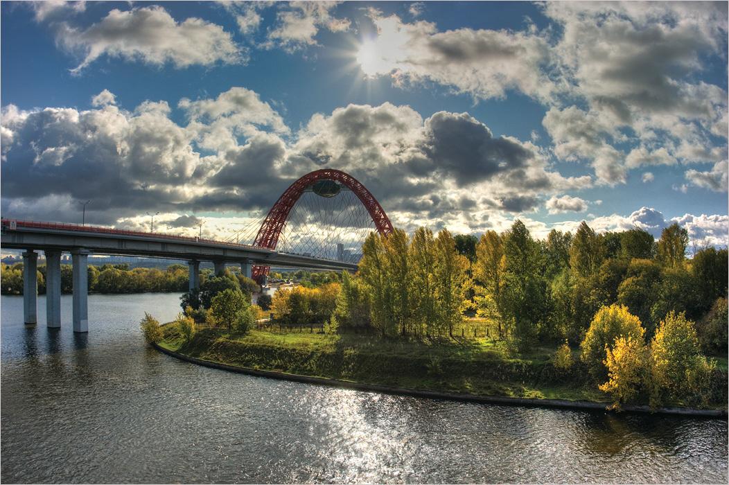 """фото """"***"""" метки: пейзаж, архитектура, вода, мост, облака, осень, река, солнце"""
