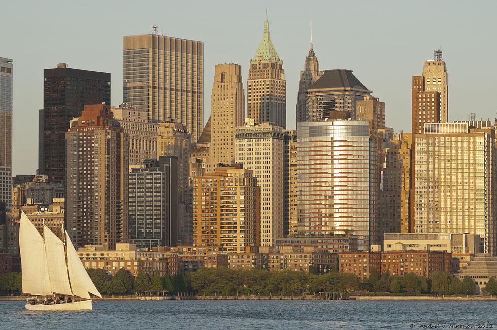 """фото """"Lower Manhattan by Hudson river"""" метки: пейзаж, город, HDR, Нью-Йорк, вода, закат"""