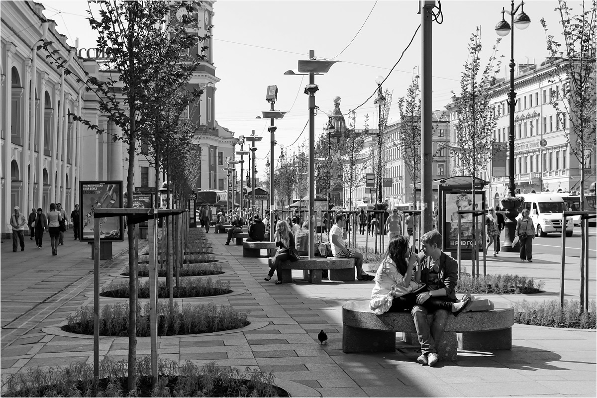 "photo ""Nevsky. Spring perspectives."" tags: city, black&white,"