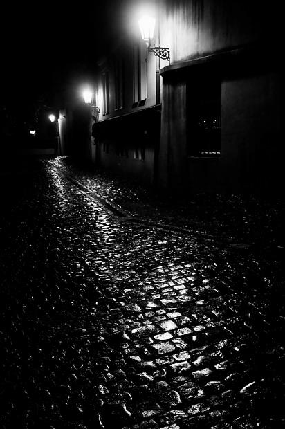 """фото """"Ночные фонари а мостовая"""" метки: черно-белые,"""