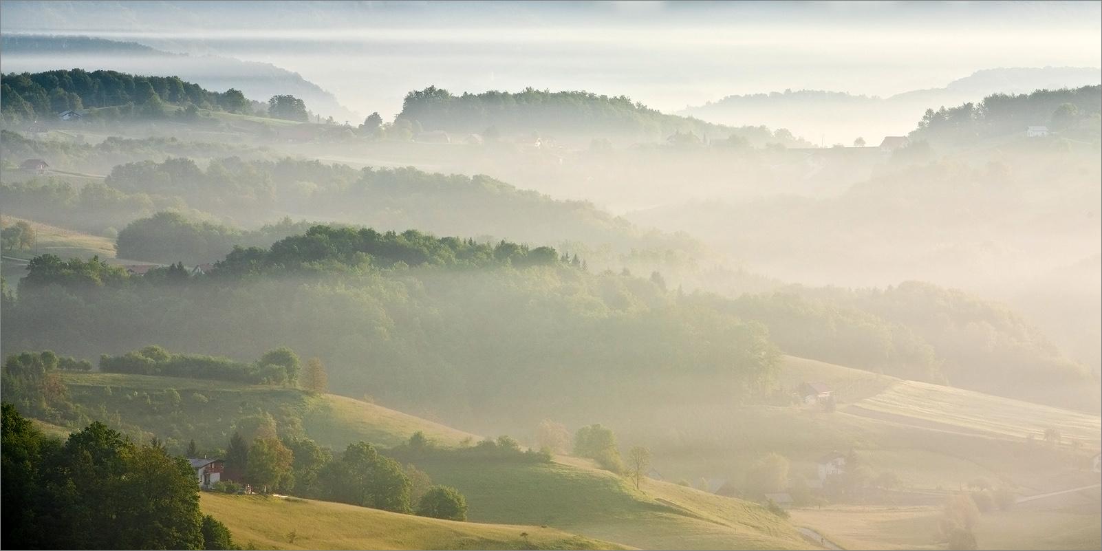 """фото """"Туманное утро"""" метки: пейзаж, закат"""
