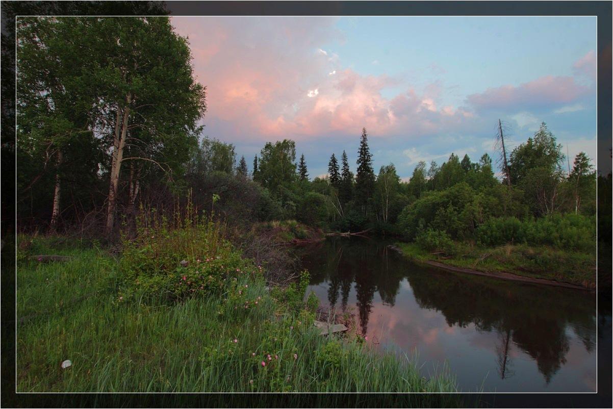 "фото ""Закат на таежной реке"" метки: пейзаж, закат"