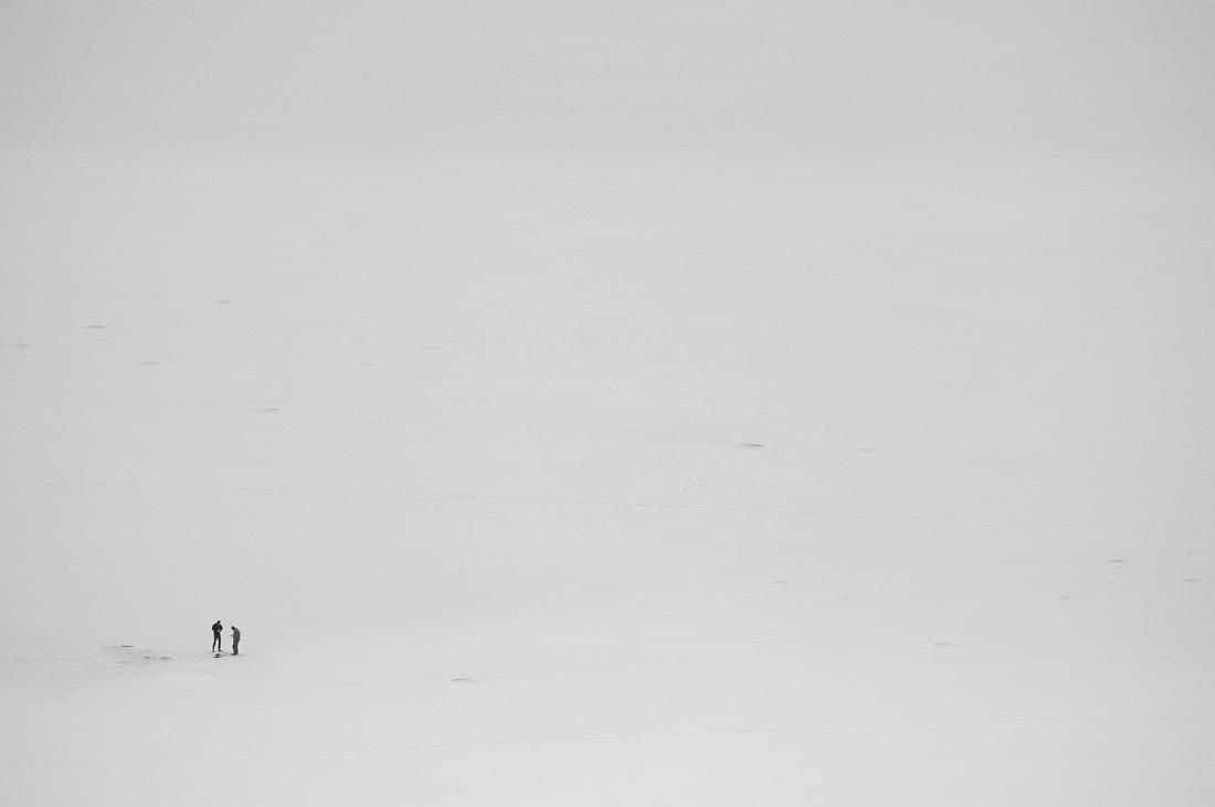 "photo ""Solitude in two"" tags: black&white, cold, fishermen, fishing, frozen lake, winter"