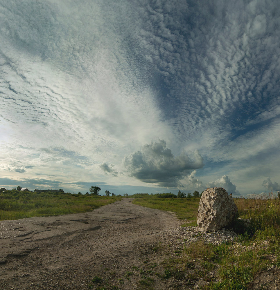 "photo ""***"" tags: landscape, panoramic, sky, summer, village"