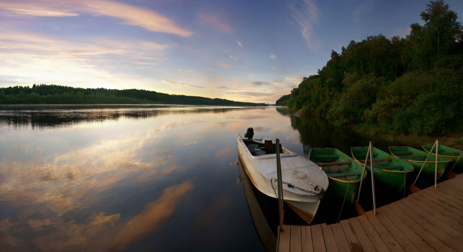 "photo ""***"" tags: landscape, panoramic, boat, river, sunrise, Ветлуга"
