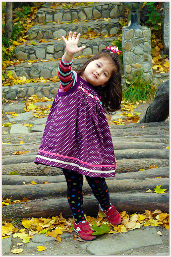 "photo ""Hello!"" tags: portrait, autumn, children, park, people"