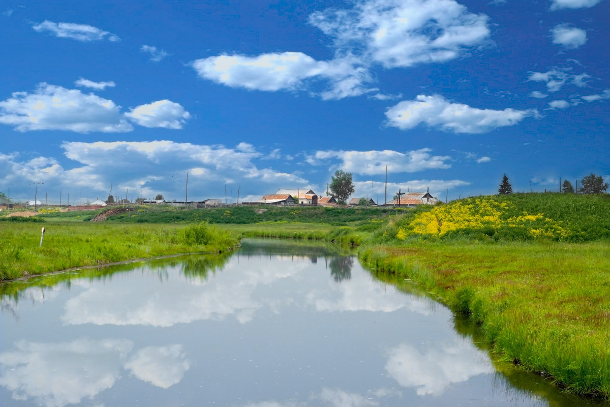 "photo ""Imysh"" tags: landscape, river, sky, village, water, Красноярский край"