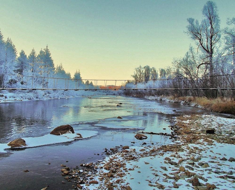 "фото ""Зимняя сказка."" метки: пейзаж, вода, лес, небо, тайга"