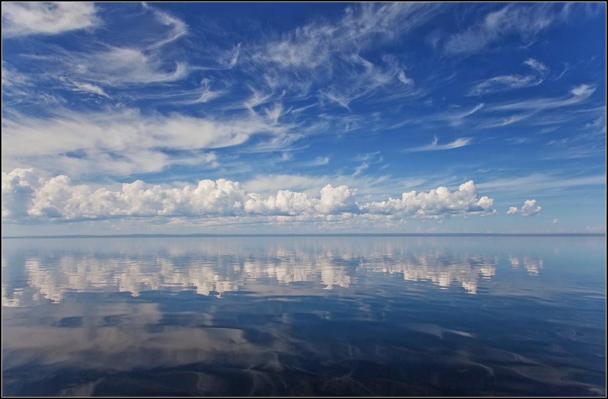 "фото ""Облака над Онегой"" метки: пейзаж, путешествия, Онежское, облака, озеро"
