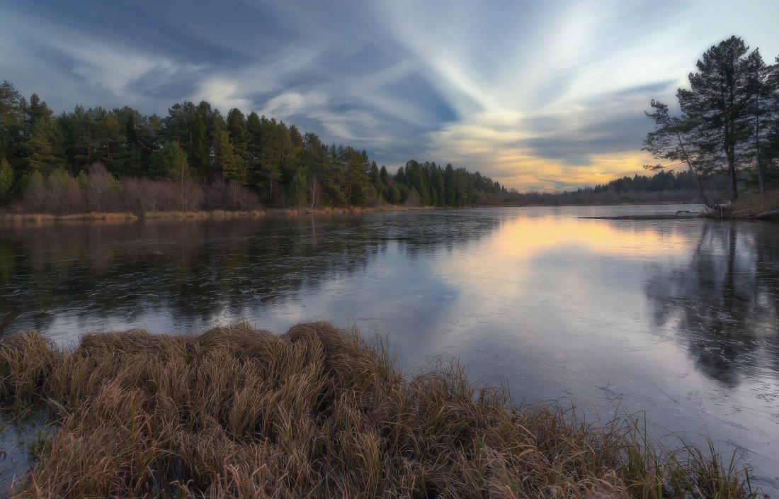 """фото """"Отражения на тонком льду"""" метки: пейзаж, дерево, лед, лес, озеро, осень, отражения, трава, туча"""
