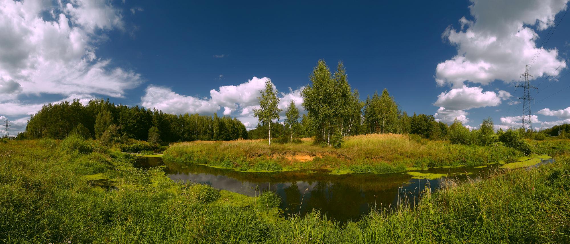 """фото """"Подмосковная речушка"""" метки: пейзаж, панорама, лето"""