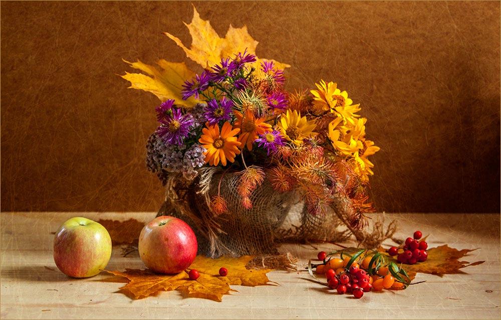 """фото """"Осенний калейдоскоп"""" метки: натюрморт, Ягоды, осень, фрукты, цветы"""