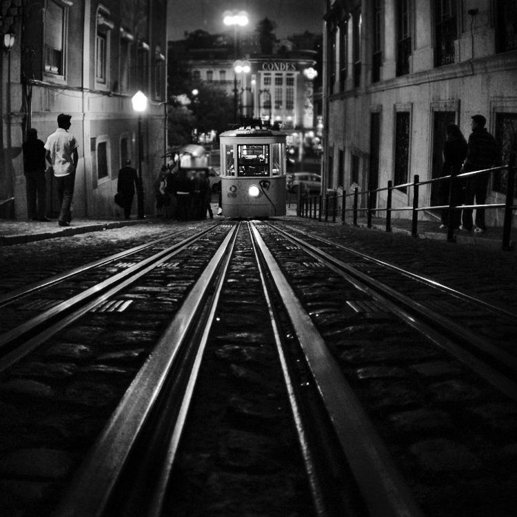 "photo ""Night On Earth..."" tags: street, city, black&white, rezon Lisbon Portugal tram nig"