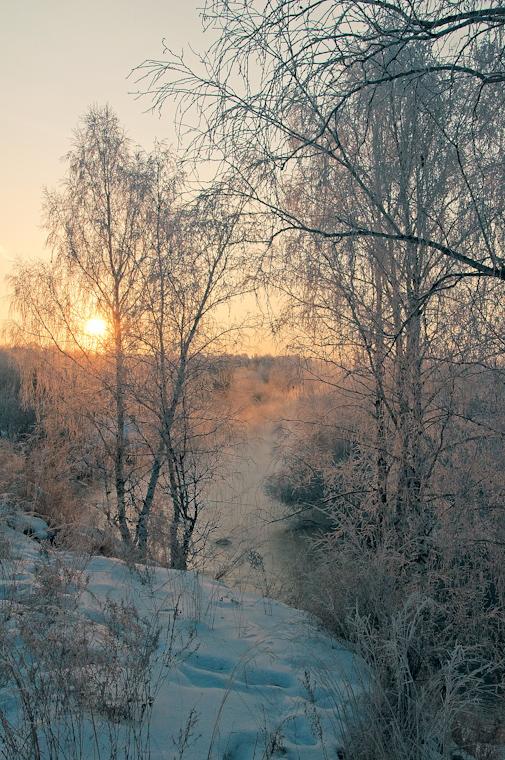 """фото """"Утро"""" метки: пейзаж, зима, река, утро"""