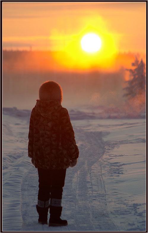 """фото """"Уходящее солнце"""" метки: город, зима солнце"""