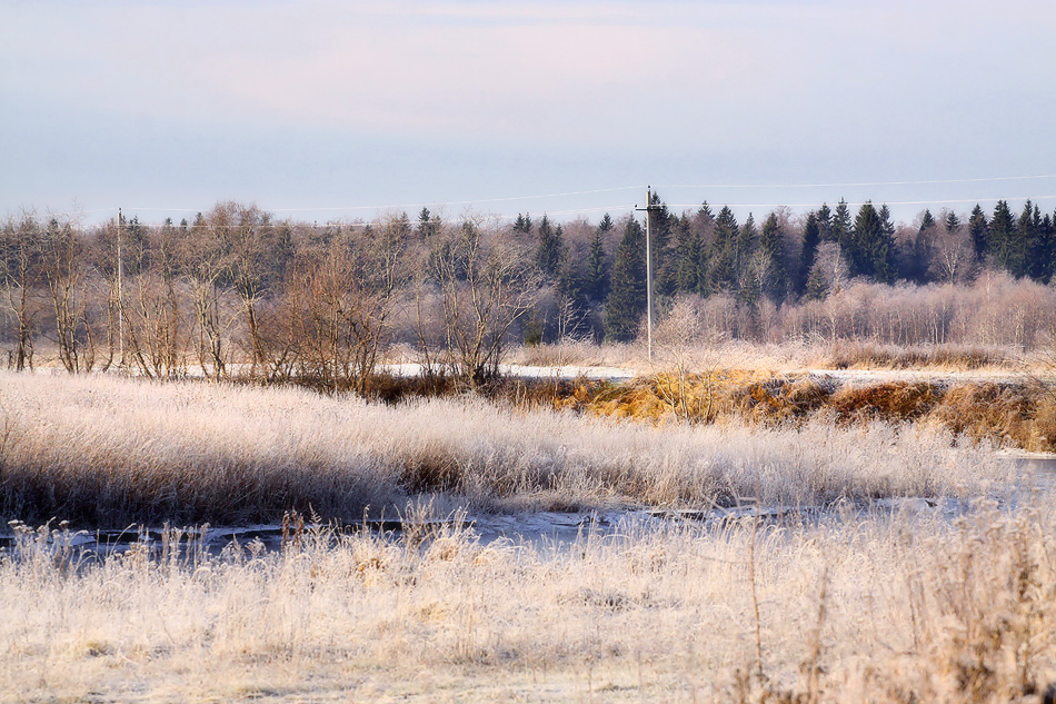 "photo ""***"" tags: landscape, autumn, field, hoarfrost, river"