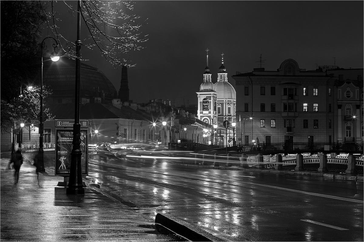 "photo ""***"" tags: city, black&white, St. Petersburg, autumn, rain"