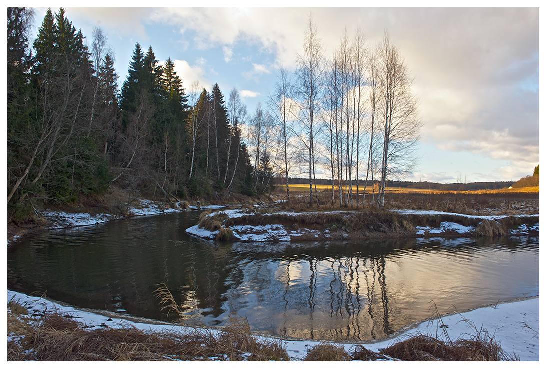 "photo ""Bend"" tags: landscape, autumn, field, forest, snow, water"