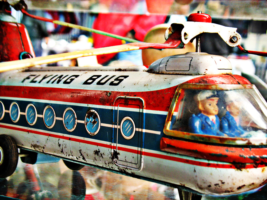 "photo ""Vintage Flying bus tin toy"" tags: still life, old-time, digital art, bus, children, designs, flying, helicopter, playing, retro, tin, toy, vintage"
