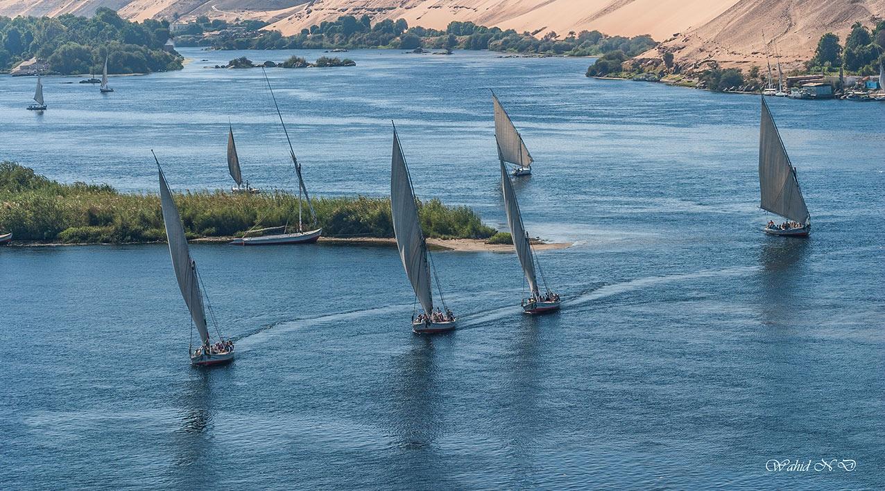 """фото """"Ballet on the Nile"""" метки: пейзаж, путешествия, Африка, вода, лодка"""