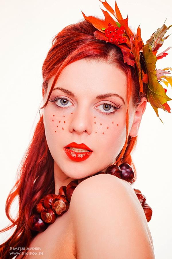 """фото """"Lady Autumn"""" метки: портрет, гламур, бьюти, листья, осенний макияж"""