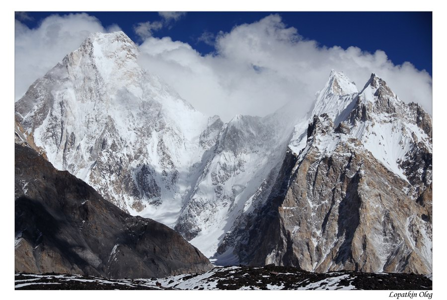 "photo ""Gasherbrum 4 peak and Gasherbrum group"" tags: landscape, travel, Baltoro, Concordia, Gasherbrum, Pakistan"