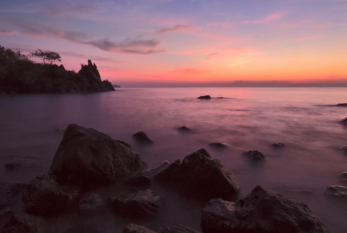 "photo ""***"" tags: landscape, travel, bay, coast, evening, night, ocean, rocks, sea, sunset, water, Ко-Чанг, Таиланд"