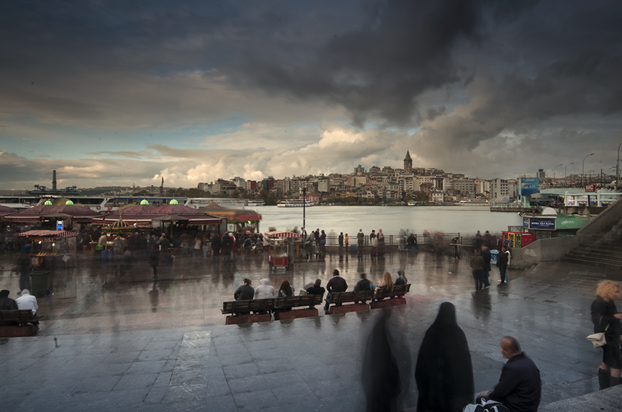 "photo ""rainy evening"" tags: landscape, city, street, istanbul"