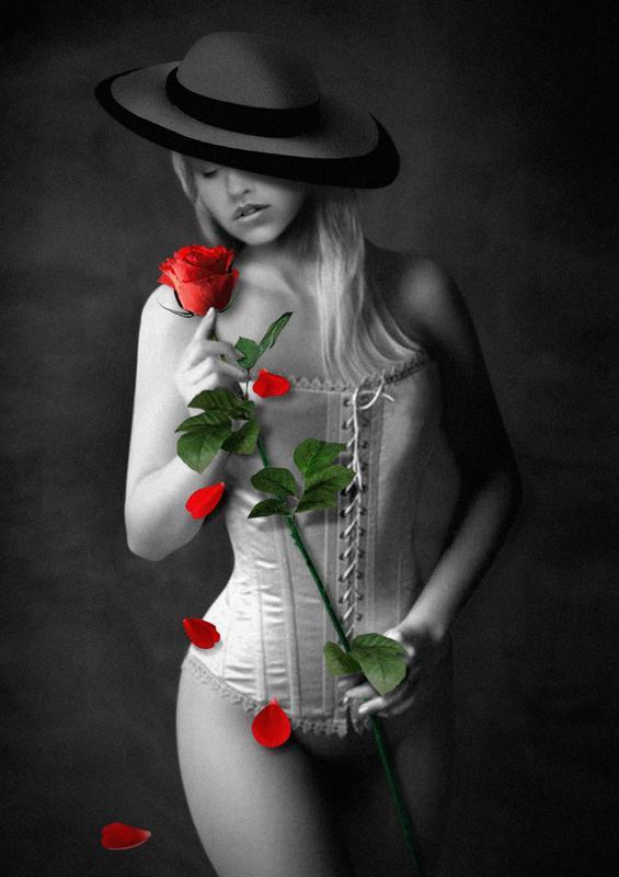 "фото ""Son sfiorite le rose..."" метки: ню, фотомонтаж, гламур, Conceptual..., женщина"