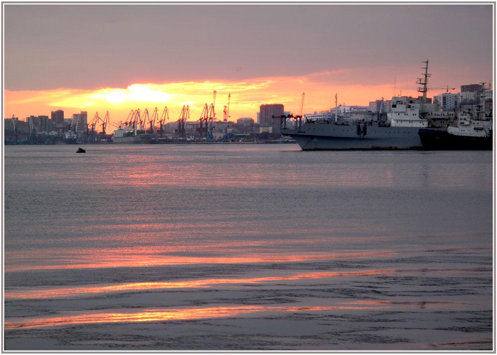 "фото ""***"" метки: пейзаж, закат, зима, море"